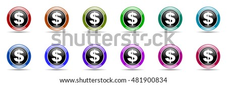 dollar round glossy colorful web icon set
