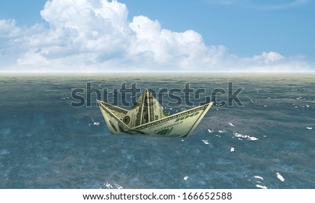 dollar ship in water - economy concept  - stock photo