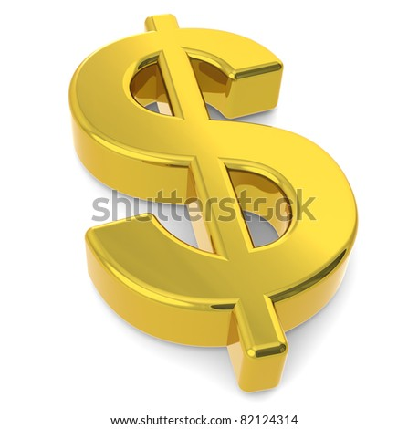 Dollar sign. A 3D golden dollar sign - stock photo
