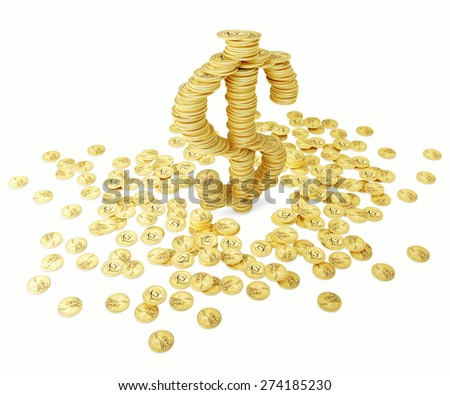 Dollar sign and coins