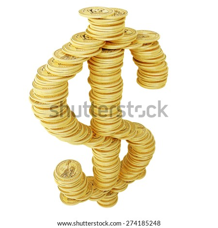 Dollar sign and coins - stock photo