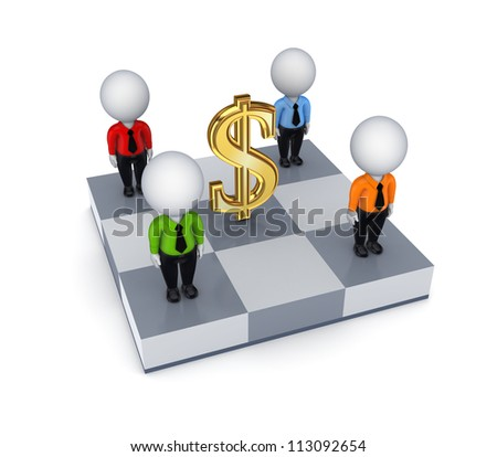 Dollar sign and 3d small people on a chessboard.Isolated on white background.3d rendered.