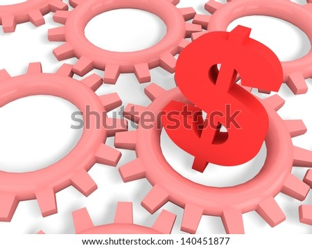 Dollar sign and gear