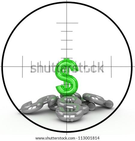 Dollar sign and sniper target - stock photo