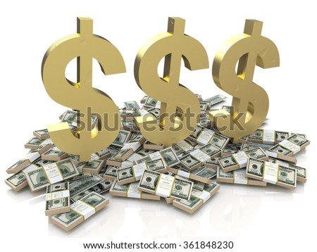 Dollar Sign and stack of money in the design of the information related to finances - stock photo
