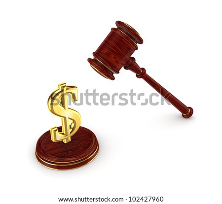 Dollar sign and wooden hammer.Isolated on white background.3d rendered. - stock photo