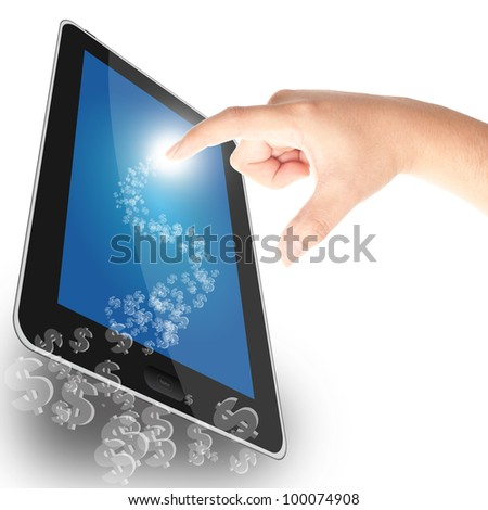 Dollar sign coming out from tablet PC, concept for business profit - stock photo