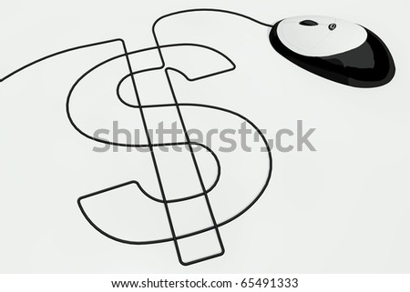 dollar sign drawn with computer mouse wire - stock photo