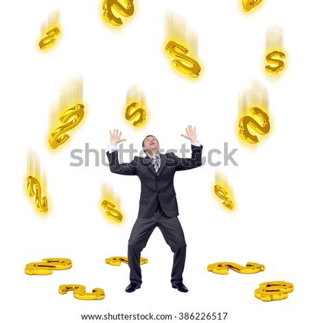 Dollar sign falling on businessman