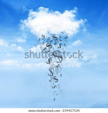 Dollar sign falls from the clouds on a beautiful sky background