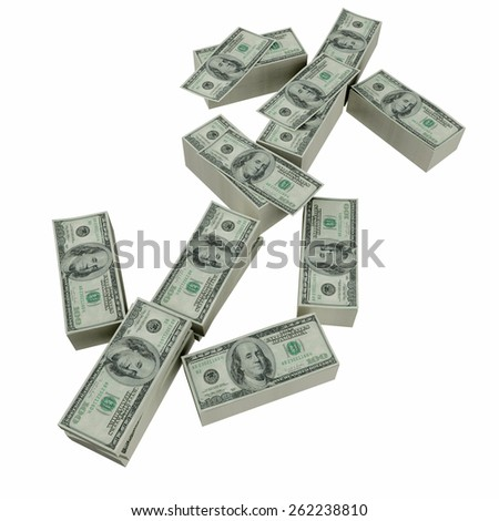 Dollar sign , font from dollars paks isolated on white background - stock photo