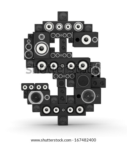 Dollar sign from black woods hi-fi speakers sound systems - stock photo