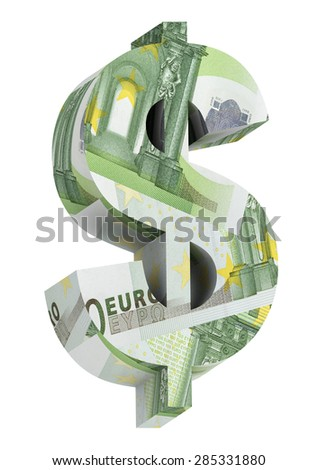 Dollar sign from euro bill alphabet set isolated over white. Computer generated 3D photo rendering. - stock photo