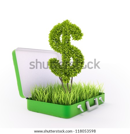 Dollar sign growing out of a grass filled suitcase - green investment concept - stock photo