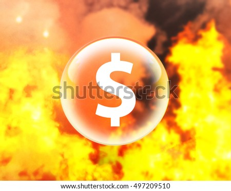 Dollar sign in crystal ball on fire