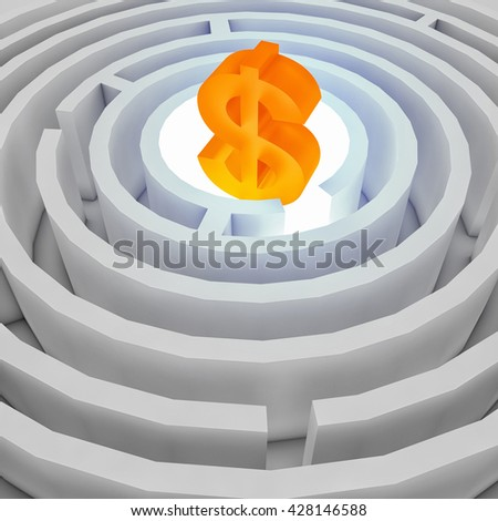 dollar sign in the center of the maze. 3D illustration - stock photo