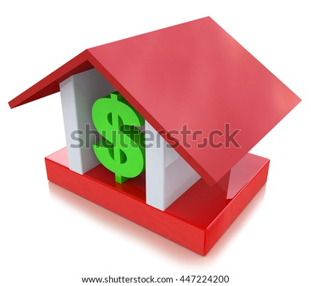 dollar sign in the house in the design of information related to real estate. 3d illustration - stock photo