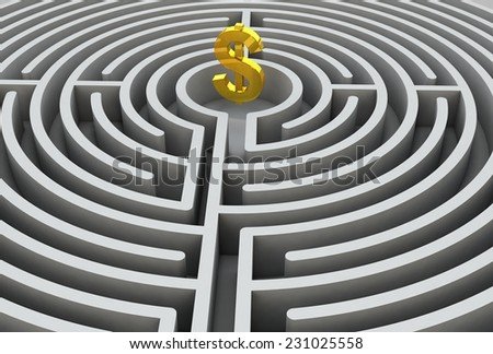 Dollar sign in the maze 3D - stock photo