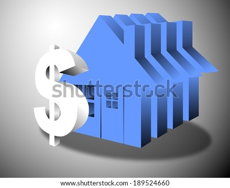 Dollar Sign in the sky with house - stock photo