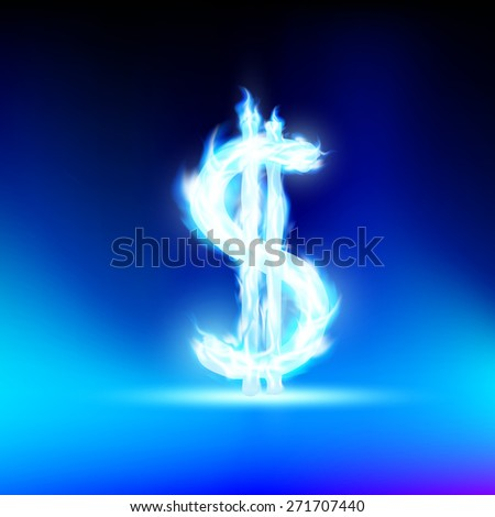 dollar sign is lit with a blue flame - stock photo