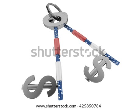 Dollar sign key with us flag texture. High quality sharp 3d rendering - stock photo
