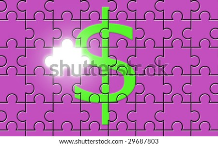 Dollar sign on a puzzle with missing piece of american currency symbol [Photo Illustration]