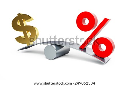 dollar sign on a swing with a percent sign on a white background - stock photo