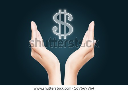 Dollar Sign on a woman's hand  - stock photo
