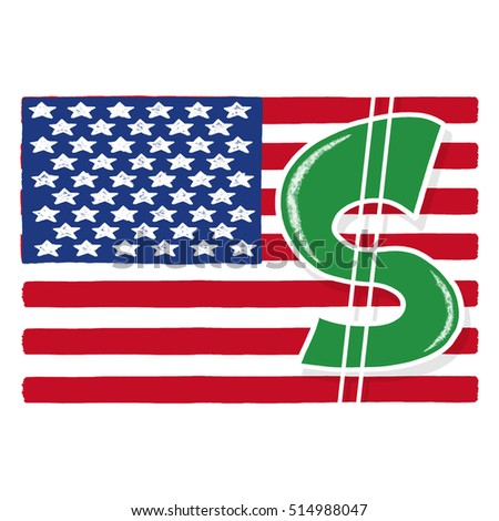 Dollar sign with American flag illustration; United States flag