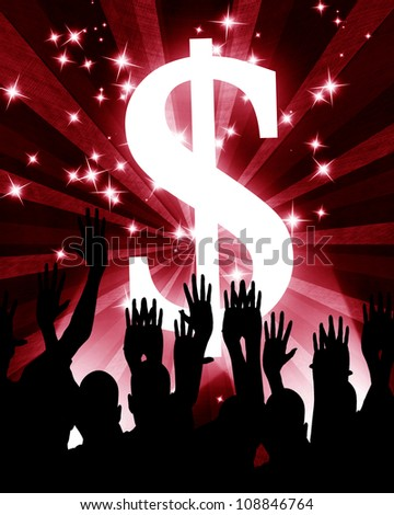 Dollar sign with enthousiastic people in front of it - stock photo