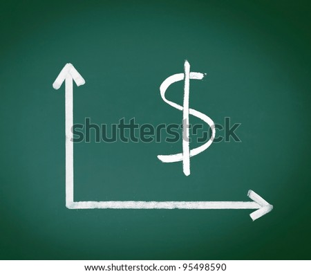 Dollar Sign with two geometrical axes showing on a green chalkboard - stock photo