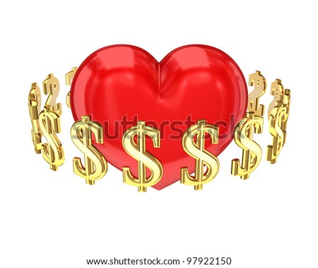 Dollar signs around red heart.Isolated on white background.3d rendered. - stock photo
