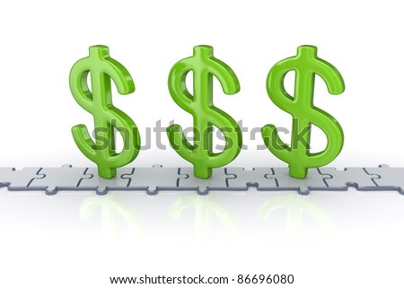 Dollar signs standing on puzzles.Isolated on white background.3d rendered. - stock photo