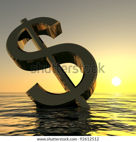 Dollar Sinking And Sunset Showing Depression Recession And Economic Downturns