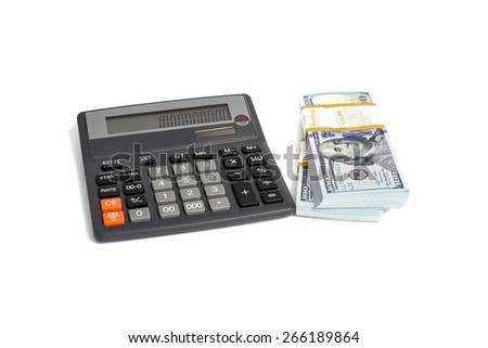 Dollar stack and calculator isolated on a white background