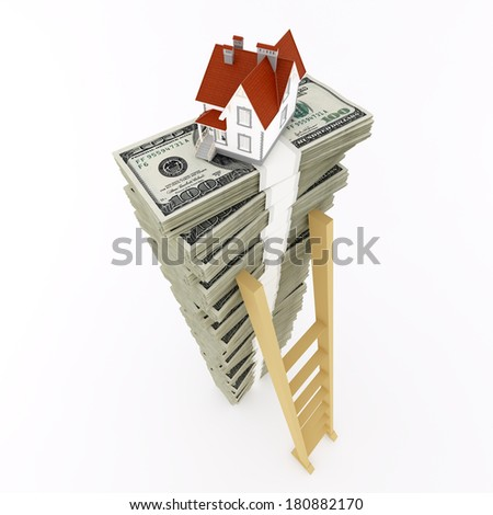 Dollar stack with house on top - stock photo
