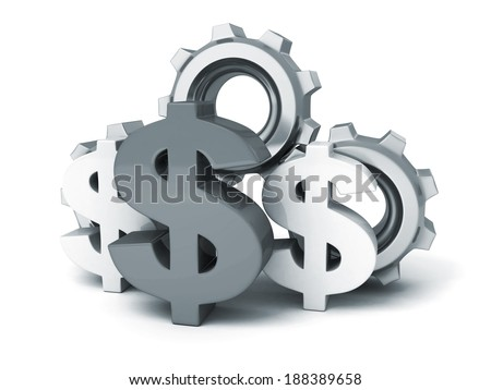 dollar symbol and cogwheel gears on white background. money work business concept 3d render illustration