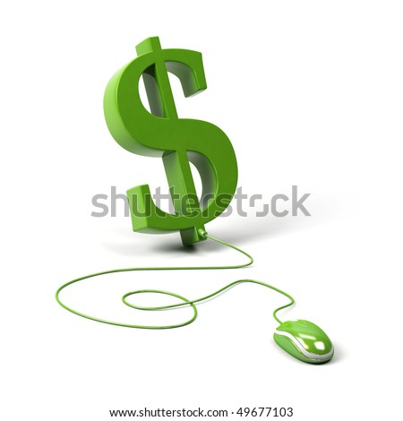 Dollar symbol connected to a computer mouse. 3d image. - stock photo