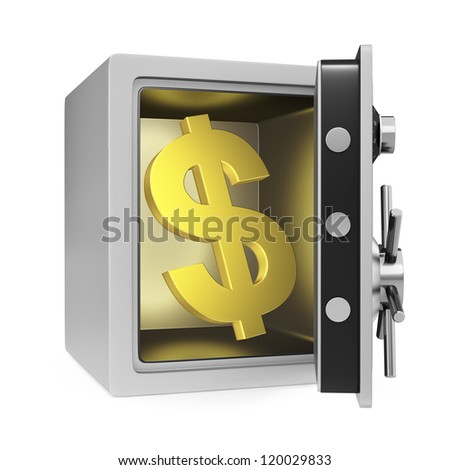 Dollar symbol in a personal safe with door opened. Isolated on a white background.