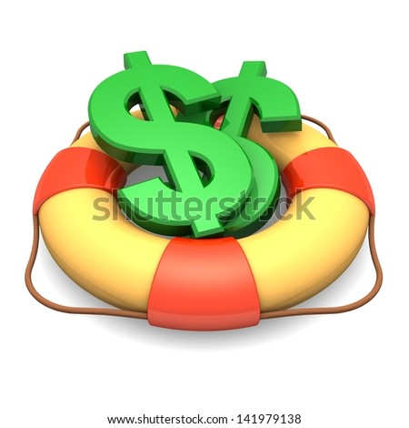 Dollar symbol in lifebuoy - isolated on white background. 3d illustration. Business concept - stock photo