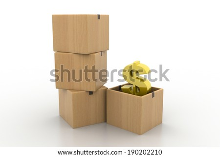 dollar symbol inside of an opened carton box - stock photo