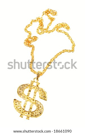 Dollar symbol necklace isolated - stock photo