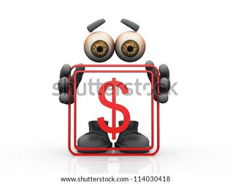 dollar symbol on a white background - stock photo