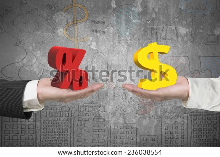 Dollar symbol on one hand and percentage sign on another hand, with business concepts doodles background, concept of deal and profit. - stock photo
