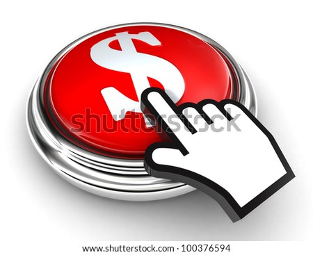 dollar symbol red button and cursor hand on white background. clipping paths included - stock photo