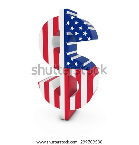 Dollar Symbol textured with the United States of America Flag Isolated on White Background - stock photo