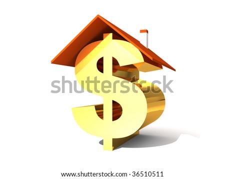Dollar symbol under the roof - stock photo