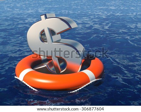 Dollar symbol with life buoy in a deep water. Business concept illustration. - stock photo