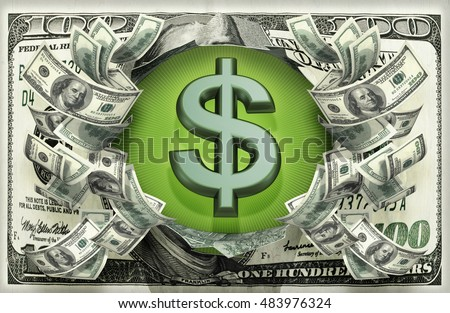 Dollar Symbol With Money 3D Illustration