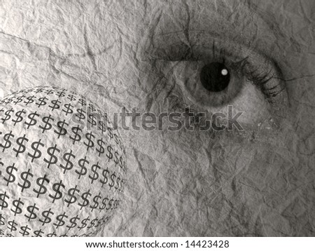 Dollar symbols and eye on textured paper - stock photo